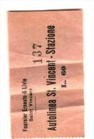 Biglietto Autolinee St Vincent - Stazione Anni '50-'60 - Europe