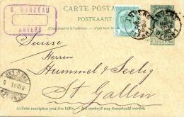 Belgien 1900 - 5 C Ganzsache + Zusatzfrankierung V.Anvers > St.Gallen - Ganzsachen