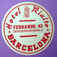 HOTEL RESIDENCIA PENSION MOTEL RIALTO PALACE BARCELONA SPAIN LUGGAGE LABEL ETIQUETTE AUFKLEBER DECAL STICKER MADRID - Hotel Labels