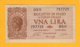 1 LIRA - ITALIA LAUREATA - DECR. 23 - 11 - 1944 - QFDS - [ 1] …-1946 : Regno