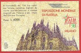 ITALIA REPUBBLICA LIBRETTO NUOVO - 1996 - Esposizione Mondiale Di Filatelia, A Milano - DUOMO - £ 750 X 8 - S. L19 - 6. 1946-.. República