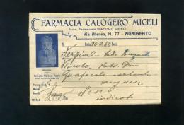 S5345 AGRIGENTO FARMACIA CALOGERO MICELI BUSTINA PUBBLICITA'  DOSAGGI MEDICINALI E TERAPIA - Matériel Médical & Dentaire