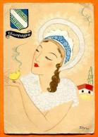 CHAMPAGNE - Belle Illustration  En Couleur Femme Et Poussin  ,coiffe, Blason. Ed. Barre Et Dayez  1205. Ill. DYL - France