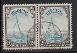 Bermuda Used Scott #109 Pair 2p Yacht 'Lucie', Brown Black & Turquoise Blue - Bermudes