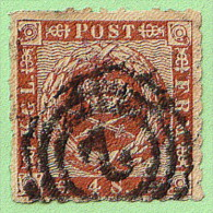 "DEN SC #9 1863 Royal Emblems ""2"" (Hamburg) In Conc. Circs., CV $15.00 - 1851-63 (Frederik VII)"