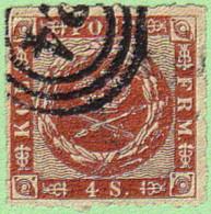 """DEN SC #9 1863 Royal Emblems """"24"""" (Helsingor) In Conc. Circs., CV $15.00 - Used Stamps"""