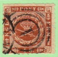 "DEN SC #9 1863 Royal Emblems ""1"" (Kjobenhavn) In Conc. Circs., CV $15.00 - 1851-63 (Frederik VII)"