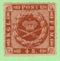 DEN SC #9b MNH  1863 Royal Emblems W/sm Gum Disturb / Adherent Near T (shown) - 1851-63 (Frederik VII)