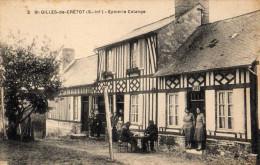 """St Gilles De Crétot Superbe Et Rare Vue """"Epicerie Colange"""" TBE - Frankreich"""