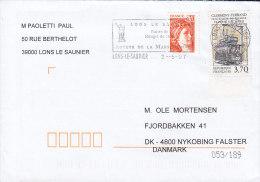 France Flamme LONS Le SAUNIER 2007 Cover Lettre NYKØBING FALSTER Denmark Tramway Electrique - France