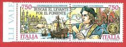 ITALIA REPUBBLICA MNH DITTICO - 1991 - Celebrazioni Colombiane, Il Progetto - £ 750 X 2 - S. 1958 - 1959 - 6. 1946-.. Repubblica