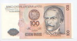 Billet De Banque, Banknote, Biglietto Di Banca, Bankbiljet, Pérou, Peru, 100 Cien Intis, 1987, Ramon Castilla, NEUF - Pérou