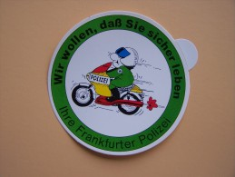 """Autocollant PUBLICITAIRE """" Ihre Frankfurter POLIZEI  """" Publicité Police Allemande Motard Moto - Police & Gendarmerie"""