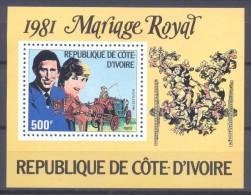 Cote D'Ivoire Bloc-feuillet YT N°18 Mariage Royal Du Prince Charles Et Lady Diana Spencer Neuf ** - Côte D'Ivoire (1960-...)