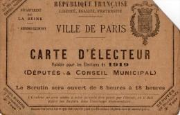 VP1292 - Ville De PARIS - Carte D' électeur - Mr BANVILLE Artiste Peintre - Cartes