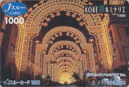 Carte pr�pay�e Japon - FESTIVAL de KOBE / Illuminations 1999 - Luminarie Japan prepaid JR J card - 09