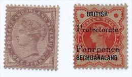 2 Pcs. 1881 Great Britain QV Queen Victoria 1p & 4p Stamps MM &  MLH ( S-98) - 1840-1901 (Victoria)