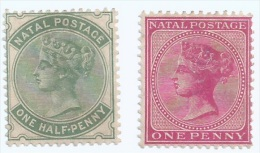 2 Pcs. Of 1874 NATAL SOUTH AFRICA 1 & 1-1/2 PENNY STAMPS MM (S-97) - Zuid-Afrika (...-1961)
