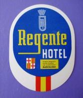 HOTEL RESIDENCIA PENSION HOSTAL MESON REGENTE BARCELONA SPAIN LUGGAGE LABEL ETIQUETTE AUFKLEBER DECAL STICKER MADRID - Hotel Labels