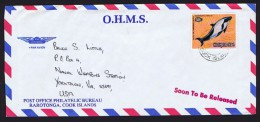 COOK IS.  1980  O.H.M.S. Cover To USA   Save The Whales Campaign 48 C. Commerson's Dolphin - Cook Islands