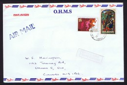 COOK IS.  1974  O.H.M.S. Cover To USA   Easter, Commonwealth Games,  Faded «Return To Sender - Service Suspended&r - Cook Islands