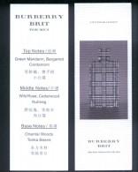 2 X Singapore Perfume Cards Carte Parfumee --  BURBERRY BRIT FOR MEN (CHINESE) - Cartes Parfumées