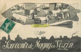 95 Magny En Vexin, Ancienne Fantaisie, Multivues Dans Un Dirigeable, Carte Pas Courante Affranchie 1910 - Magny En Vexin