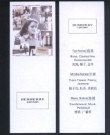 2 X Singapore Perfume Cards Carte Parfumee --  BURBERRY LONDON FOR WOMEN (CHINESE) - Modern (from 1961)