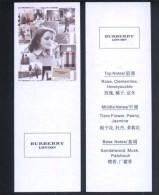 2 X Singapore Perfume Cards Carte Parfumee --  BURBERRY LONDON FOR WOMEN (CHINESE) - Cartes Parfumées