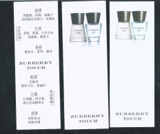 3 X Singapore Perfume Cards Carte Parfumee --  BURBERRY TOUCH (CHINESE) - Modern (from 1961)
