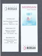 2 X Singapore Perfume Cards Carte Parfumee --   MORGAN SWEET PARADISE  (CHINESE) - Modernes (à Partir De 1961)