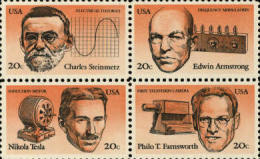 1983 USA American Inventors Stamps #2055-58 2058a Famous Niagara Falls Power Plant Radio AC Generator TV Camera - Photography
