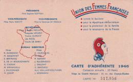 UNION DES FEMMES FRANCAISES-neuve-carte D'adhérente 1946 - Organisations
