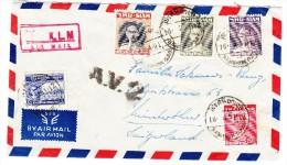 Thailand 1951 Flugbrief In Die Schweiz Mit A.V. 2 Stempel - Thaïlande