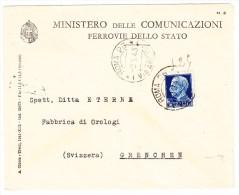 Italien 9-5-1943 Rom Brief Vom Ministerium Statlicher Eisenbahnen Nach Grenchen Schweiz - Italien