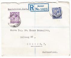 Irland 1932 R-Brief Von Belfast Nach Zürich Englische 21/2 Und 3d. Georg V Marken - 1922-37 État Libre D'Irlande