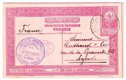 Syrien 1909 Türkische Ganzsachen Karte Stempel Alep Nach Lyon (Zigaretten Dosen Anfrage) - Syrie