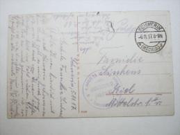1917, Schwerin  ,   Feldpostkarte   mit Truppensiegel