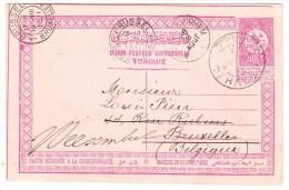 Syyrien 1911 Türkische Ganzsachen Karte 20 Para Von Halep Nach Belgien - Syrie