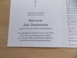 Doodsprentje Zoë Deslovere Menen 21/5/1907 Kortrijk 1/1/1999( Robert Vandenabeele ) - Religion &  Esoterik