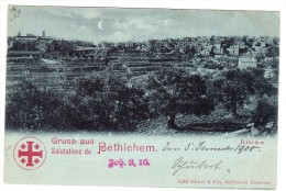 AK Palästina (Gruss Aus Betlehem) 1900-01-? Jerusalem Auf 10 Para Turkei Als Drucksache Gesendet Nach Erfurt - Palestine