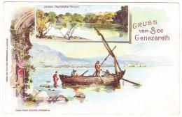 AK Palästina (Gruss Vom See Genezareth) Litho 1899 Gesendet Von Jerusalem Nach Weidach Vorarlberg - Palestine