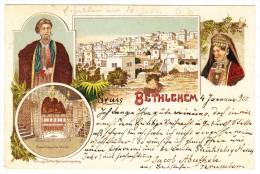 AK Palästina (Gruss Von Bethlehem) Litho Türkische Post Jerusalem 20p. Ins Tirol Gesendet - Palestine