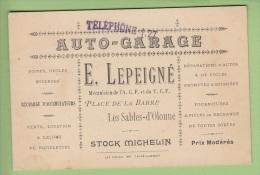 Les SABLES D' OLONNE : Carte De Visite Auto Garage LEPEIGNE , Place De La Barre - 2 Scans - Cartes De Visite