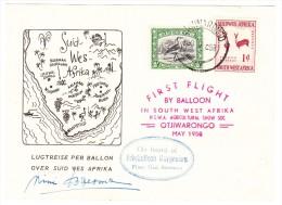 Südwestafrika Mai 1958 Ballon 1. Flug Unterschrift Pilot :Nini Boesman Otjiwarongo - Südwestafrika (1923-1990)