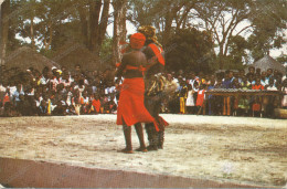 ZAMBIA, Traditional Dancers, Livingstone , 3 Nice Stamp, By Air Mail, Vintage Old Postcard - Zambia