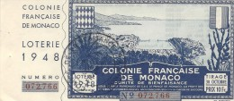 COLONIE FRANCAISE DE MONACO - Billets De Loterie