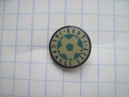 Estonia. Estonian Football Association. Photo-etched soft enamel with epoxy dome.