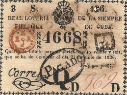 LOTERIE DE CUBA . 1826 - Billets De Loterie