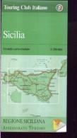 X TOURING CLUB ITALIANO SICILIA GRANDE CARTA STRADALE   SCALA 1 : 200.000 - Carte Stradali